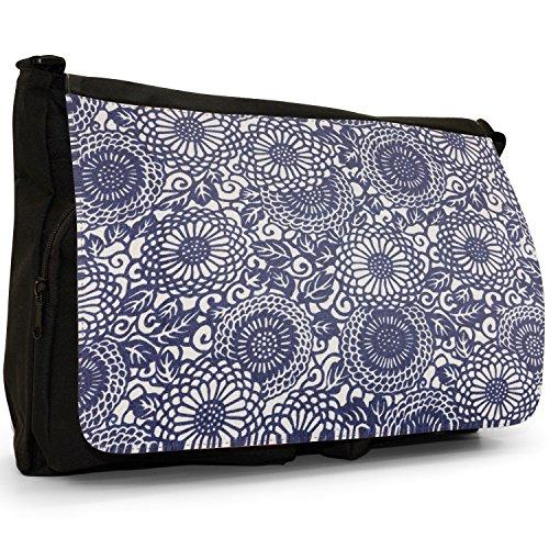 Fancy A Bag Borsa Messenger nero Japanese Art Red Fan Taste Of Japan Hippy Blue Swirls