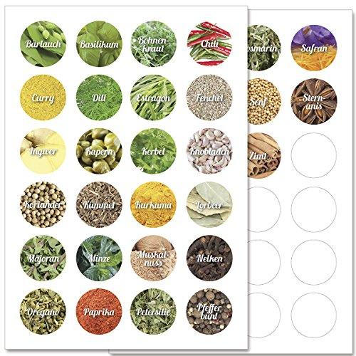 Wandkings Gewürzetiketten Ø 4 cm - 48 Stück kreisförmige Gewürzaufkleber - Etiketten / Sticker / Aufkleber für Gewürze selbstklebend auf 2 DIN A4 Bögen - Schrift 1