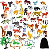Aneco 82 Pieces Animals Figures Mini Jungle Animals Toys Set Realistic Looking Animals with Fence and Velvet Storage Bag for Kids