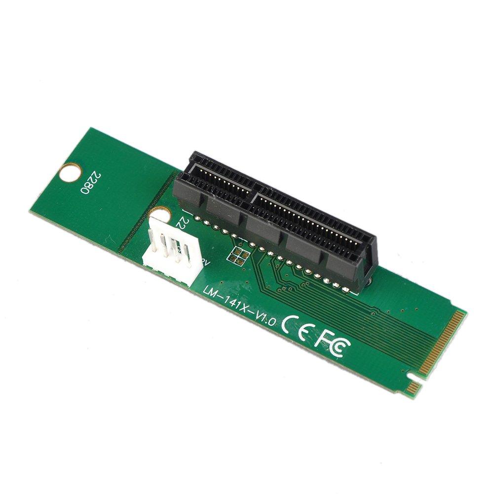 Demiawaking M.2 NGFF SSD Männlich auf PCI-E Express 4X Weiblich Konverter Adapterkarte mit 4pin Stromversorgung Kabel (1Stk.)