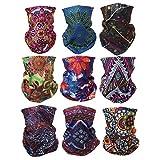 Graceme 9 Stück Multifunktionstuch Gesichtsmaske Motorradmaske Sturmmaske Maske für Motorrad Ski Snowboard Snowboard Paintball Fahrrad Bergsteigen Trekking Skateboarden Angeln Damen Böhmischer Stil