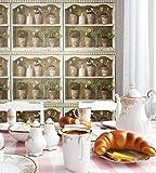 Vlies-Tapete Blumen-Landhaus-Optik | schönes Regal-Design und purer Romantik-Effekt | schöne 3D Optik für Wohnzimmer,Schlafzimmer,Flur oder Küche inkl. NewroomTapezier-Profibroschüre mit super Tipps!