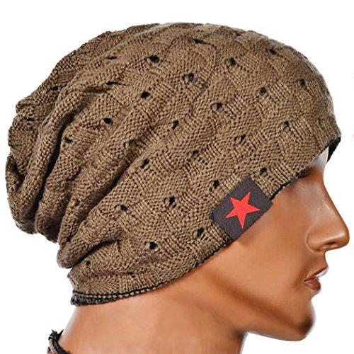 Cappellino invernale - All4you Unisex cava fuori lana maglia maglia autunno foderato in pile caldo Beanie(Yellow)