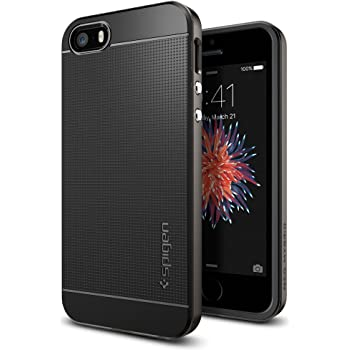 Spigen Neo Hybrid iPhone SE / 5S / 5 Case with Flexible Inner Protection and Reinforced Hard Bumper Frame for iPhone SE / 5S / 5 - Gunmetal