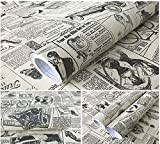 ADN-7 Alte Mode Zeitung Kontakt Papierrolle Peel Stick Regal Schublade Liner Locker Aufkleber Selbstklebende Vinyl Regal Schublade Liner für Möbel Kunst Handwerk Home Decor 23,6 In * 9.8ft