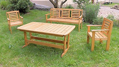 Massivholz Garten Sitzgruppe 'Lonus-1' , Kiefer , Holzfarbe Nuss , Holzdicke : 28 cm , Set : Gartenbank , 2 Sessel , Massivholztisch .