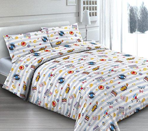 Smartsupershop Housse de Couette avec taies d'oreiller pour lit - Giocoso Frolic - Y Compris sous avec Coins en coordonné - en Coton Fabriqué en Italie