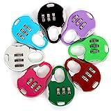 Aibada Mini hangslot 3-cijferige resettable combinatie reisbagage koffer codeslot willekeurige kleur, pak van 6