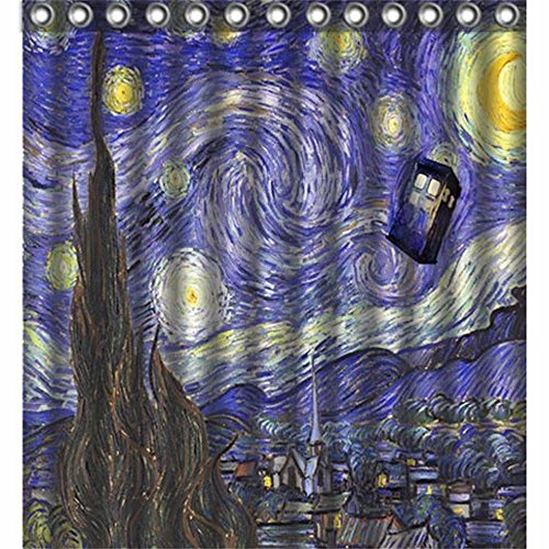 Starry Night Van Gogh Police Box Tardis Doctor Who Polyester Bath Bathroom...