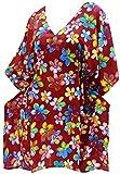 LA LEELA Robe de Plage Femme Ete Bohême Tuniques Casual Blouse 3D HD Bikini Cover Up Dentelle Paréo Couverture Maillots de Bain Swimsuit Beachwear Mini Dress Rouge_M686