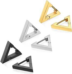 JewelryWe Orecchini a Triangolo classici da Donna Uomo in Acciaio Inossidabile Stallone Colore Scelta