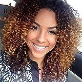 lockiges Haar Perücken für schwarz Frauen, lockiges Afro Perücken Echthaar Lace Front kurz flauschig, gewellt, volle Synthetik Perücken mit Pony 35,6 cm 310 g (braun)