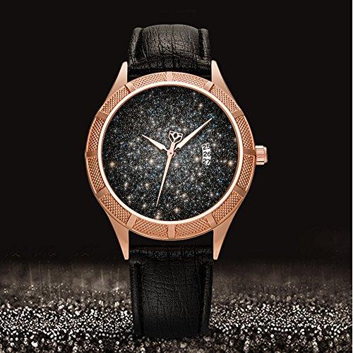 Golden Armbanduhr Kalender Datum dünn Classic Casual Uhr mit Schwarz Leder Band großes Gesicht Uhren Starry Sky series-321. Das Original Datei (2) (Classic Box-datei)