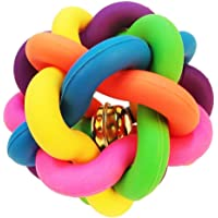 Dog Chew Knot Ball Woven Braided Rainbow Bouncy Rubber Toy with Jingle Bell Inside for Pet Training and Teeth Cleaning Toy Suitable for Dogs Cats (Small)