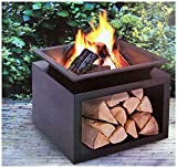 OutletCompleet Feuerschale eckig mit Holzlager, 55x55 cm Feuerkorb Terrassenofen Terrassenkamin mit Holzablage