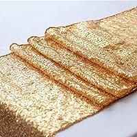 Zblp Camino De Mesa Sequin Table Runner Glitter Gold Table Flag Party Supplies Decoración De Tela