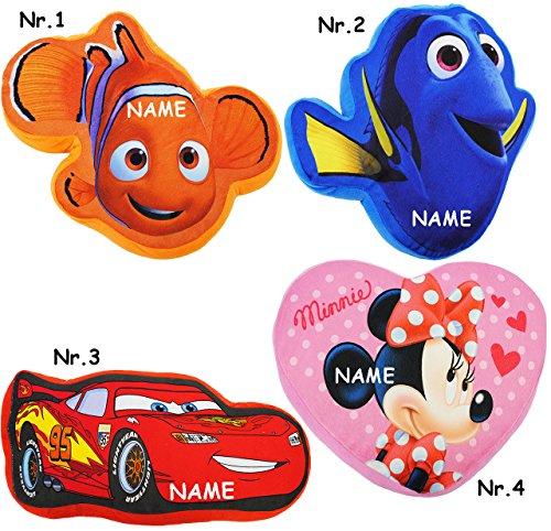 alles-meine.de GmbH Plüsch Schmusekissen / Sitzkissen / Kissen -  Disney Cars - Lightning McQueen  - incl. Name - Kuschelkissen - 40 cm * 22 cm - Figur sehr weich - Form - groß..