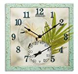 """SPRINGFIELD 92320 12"""" Poly Resin Clock with Thermometer (Sand Dollar)"""
