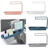 Kitchen Sink Organizer, Telescopic Sink Rack Holder Expandable Storage Drain Basket for Home Kitchen (Rose)