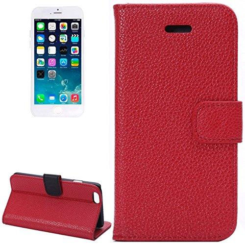 Matte Litchi Texture Ledertasche Cover mit Card Slots und Halter für iPhone 6 & 6S by diebelleu ( Color : Purple ) Red
