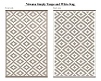 Green Decore Lightweight Indoor/Outdoor Reversible Plastic Rug Nirvana Taupe \ White - 4x6 ft (120 x 180 cm), Taupe/White from Green Decore