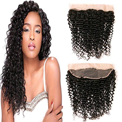 Brasiliano crespi ricci intrecciare capelli umano chiusura pizzo frontale libero parte 4x13 colore naturale 18 pollici