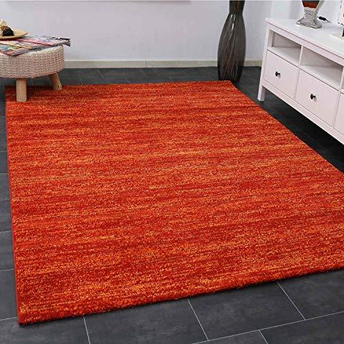 Vimoda Tappeto Soggiorno Moderno Terra Rosso Pelo Corto Erica Colorfast Pratico Schadstoff Testato - 160 x 230 cm