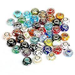 Idea Regalo - Naler 50pcs perle di murano perline di vetro murano perline europee ciondolo fascino per collana, bracciale, orecchini, creazione di gioielli, mestiere fai da te
