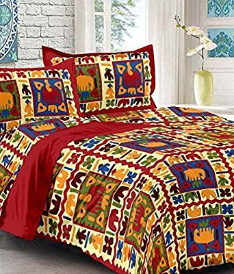 Bedsheets Cotton Jaipuri Traditional King Size Double Bedsheet with 2 Pillow Cover