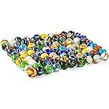Jiahuade 100 Pezzi Biglie Colorate,Biglie Piatte,Biglie Colorate,Perle Vetro Bigiotteria per Bambini Gioca con Una Borsa a Re