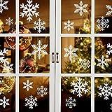 YIKEF Noël Autocollant Fenetre, Neige PVC Autocollants Stickers Flocons de Neige Amovibles Deco Vitres Noel,145 PCS Flocons de Noel Statiques Blanche Stickers Hiver Decoration Fenetre