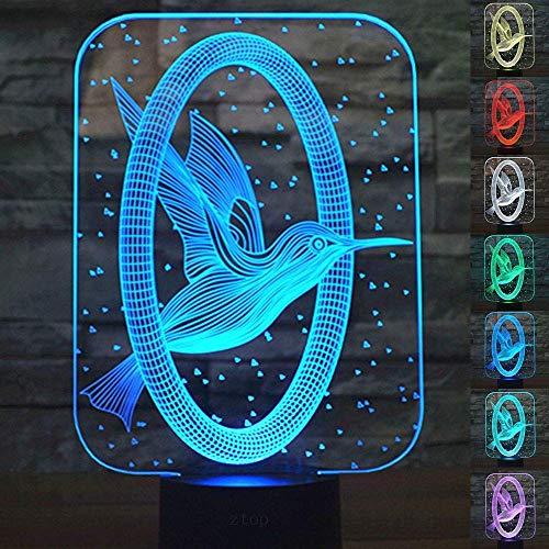 cht,SUAVER 3D Optical Illusion Lampe Touch Tischlampe 7 Farbwechsel Dekoration Lampe USB Powered Stimmungslicht Skulptur Licht Geburtstags Weihnachts Geschenk (Kolibri) ()