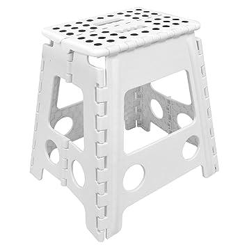 asab folding foot step stool multi purpose plastic foldable easy storage home kitchen anti slip rubber gripper feet white amazoncouk kitchen u0026 home
