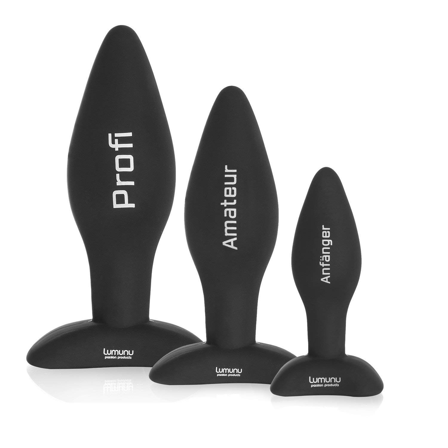 Deluxe Silicone Butt Plug Set (Ø 28,Ø 40 & Ø 45), Anal-Plugs with Foot
