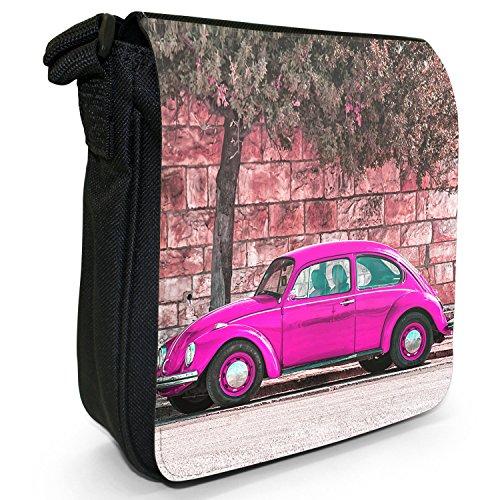 Old Classic, auto-Borsa a tracolla in tela, piccola, colore: nero, taglia: S Nero (Old Classic Pink Beetle Car)