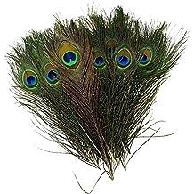 Unicoco 30 Piezas de Plumas de Pavo Real Naturales Tamaño 25-30 cm Muy Chulo