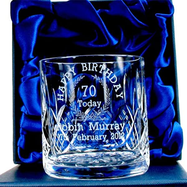 70th Birthday Whisky Glass For Him Personalised 70th Birthday Gifts For Him Mens 70th Birthday Gift 70th Birthday Glassware 70th Birthday Crystal Gifts Amazon Co Uk Kitchen Home