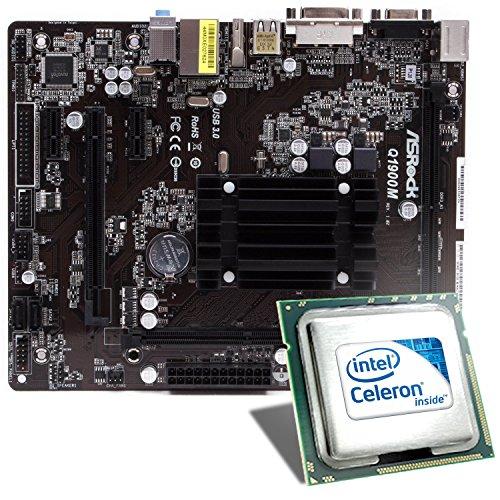 Intel Celeron J1900 / ASRock Q1900M Mainboard Bundle | CSL PC Aufrüstkit | Intel Quad-Core J1900 4X 2000 MHz, Intel HD Graphics, GigLAN, 5.1 Sound, USB 3.1 | Aufrüstset | PC Tuning Kit - Motherboard Cpu Bundle