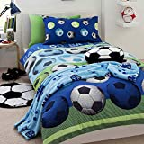 Soccer Bedrooms Camere da Letto Blu da Calcio a Tema Set Copripiumino per Letto Singolo