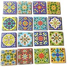 SHIV KRIPA Ceramic Decorative Mosaic Tile (3X3-inch, Multicolour) - Pack of 16
