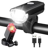 LED Fahrradlicht Set, AluminiumFahrradbeleuchtung STVZO Zugelassen Fahrradlampe USB Aufladbar und Wasserdicht Fahrrad…