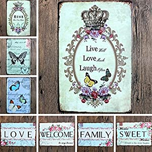 iTemer Metal Tin Sign Sweet Pink Garland Simple Fresh Art Decorative Metal Advertising plaque For Wall Home Office Shop from iTemer