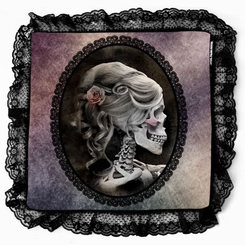 Unico vittoriano lilla gotico teschio Skull Cameo-Cuscino decorativo federa per cuscino federa con nero Steampunk punta dimensioni: 40x 40cm