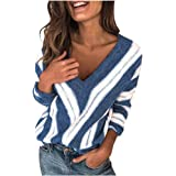 Femme Hiver Pull Pas Cher A La Mode Chaud Col V en Tricot Chandail Chemises à Manches Longues Sexy Solide Sweater Pullover Bl