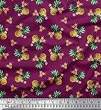 Soimoi Rosa Viskose Chiffon Stoff Plumeria & Ananas Obst
