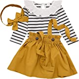 DaMohony Conjunto de ropa de bebé niña de manga larga a rayas con tirantes, falda, diadema, juego de 3 faldas para niña