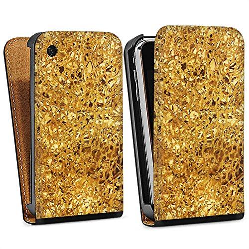 Apple iPhone 4 Housse Étui Silicone Coque Protection Or Brillance Motif Sac Downflip noir