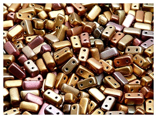 50pcs Brick Beads - Tschechisch Druckperlen von rechteck Form mit zwei Löchern 6mm, Crystal Orange Rainbow -