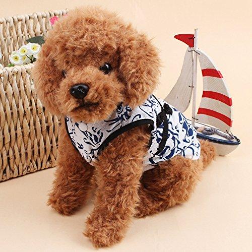 Gatti Cani Vestiti dell'Animale Domestico Cheongsam di stile Cinese blu e dal Cotone Bianco No cotone