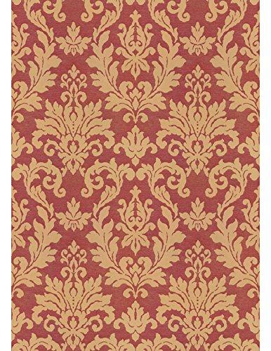 Polsterstoff Möbelstoff Bezugsstoff Meterware für Stühle, Eckbänke, etc. - Belvedere Classic Rot Ornamente Leinen - Muster